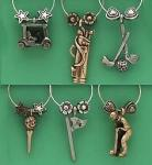 Golf Wine Charm Set, Fore 1407 | Pewter Drink Clips w/ Golf Cart, Bag, Clubs, Tee & Flag